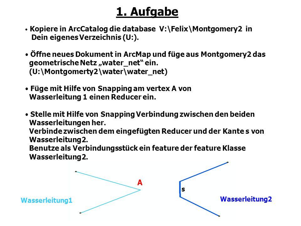 1. Aufgabe Kopiere in ArcCatalog die database V:\Felix\Montgomery2 in Dein eigenes Verzeichnis (U:). Öffne neues Dokument in ArcMap und füge aus Montg