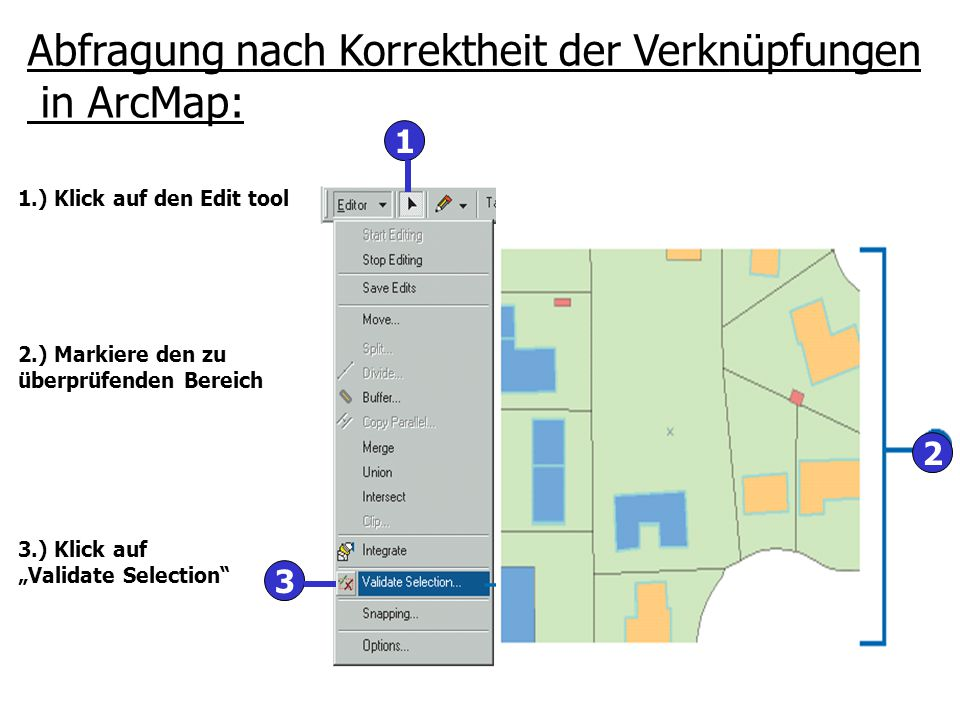 """2 1 3 Abfragung nach Korrektheit der Verknüpfungen in ArcMap: 1.) Klick auf den Edit tool 2.) Markiere den zu überprüfenden Bereich 3.) Klick auf """"Val"""