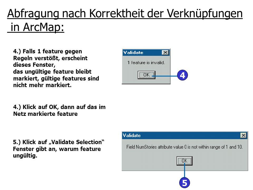 Abfragung nach Korrektheit der Verknüpfungen in ArcMap: 4.) Falls 1 feature gegen Regeln verstößt, erscheint dieses Fenster, das ungültige feature ble