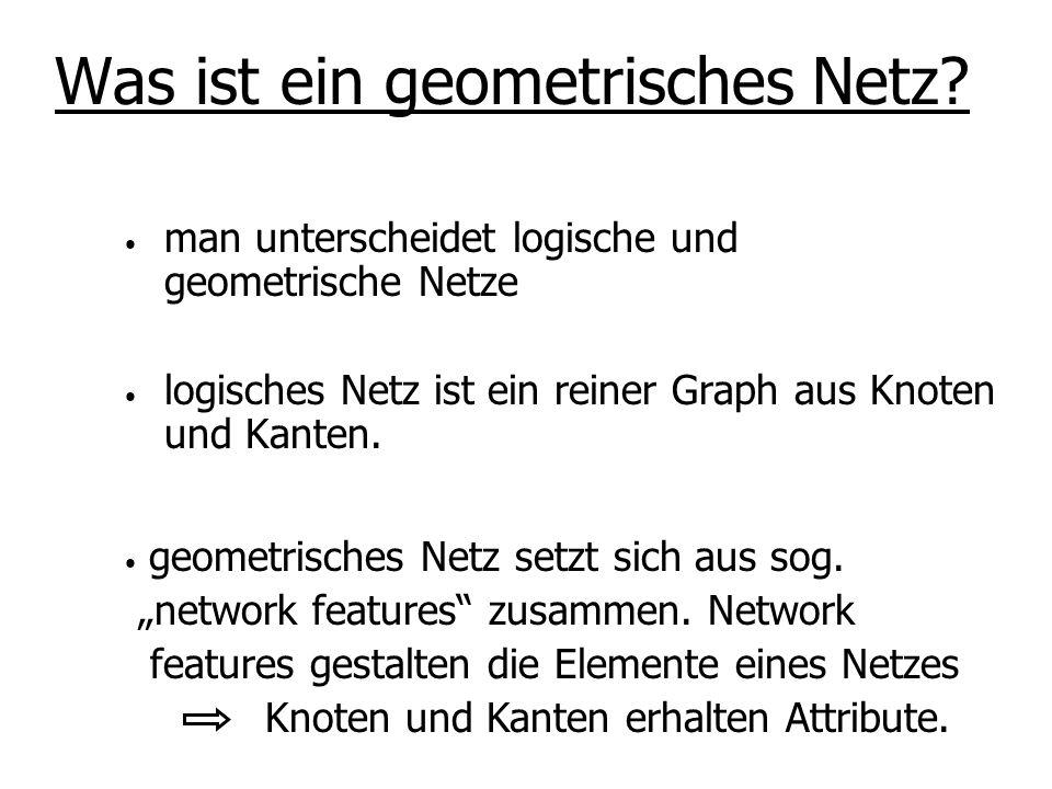 man unterscheidet logische und geometrische Netze logisches Netz ist ein reiner Graph aus Knoten und Kanten. Mit geometrischen Netz kann man das Verha