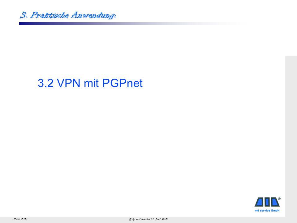 © by md service 10. Juni 200101.06.2015 3. Praktische Anwendung: 3.2 VPN mit PGPnet