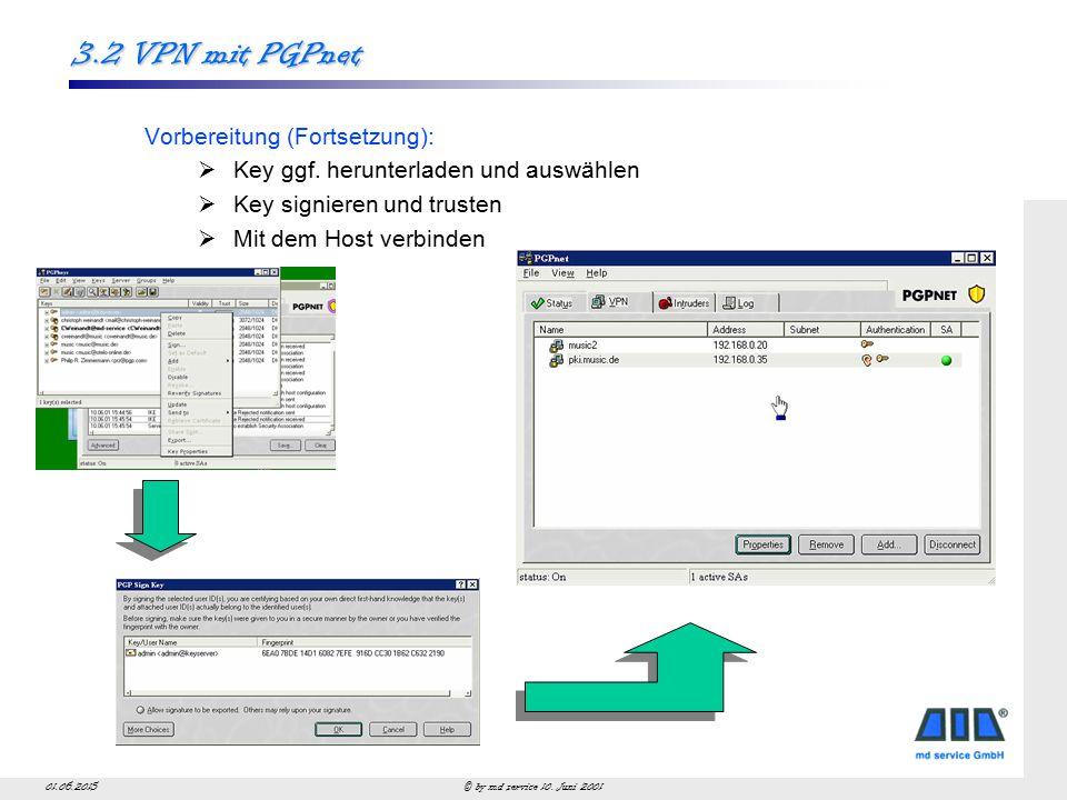 © by md service 10. Juni 200101.06.2015 3.2 VPN mit PGPnet Vorbereitung (Fortsetzung):  Key ggf.