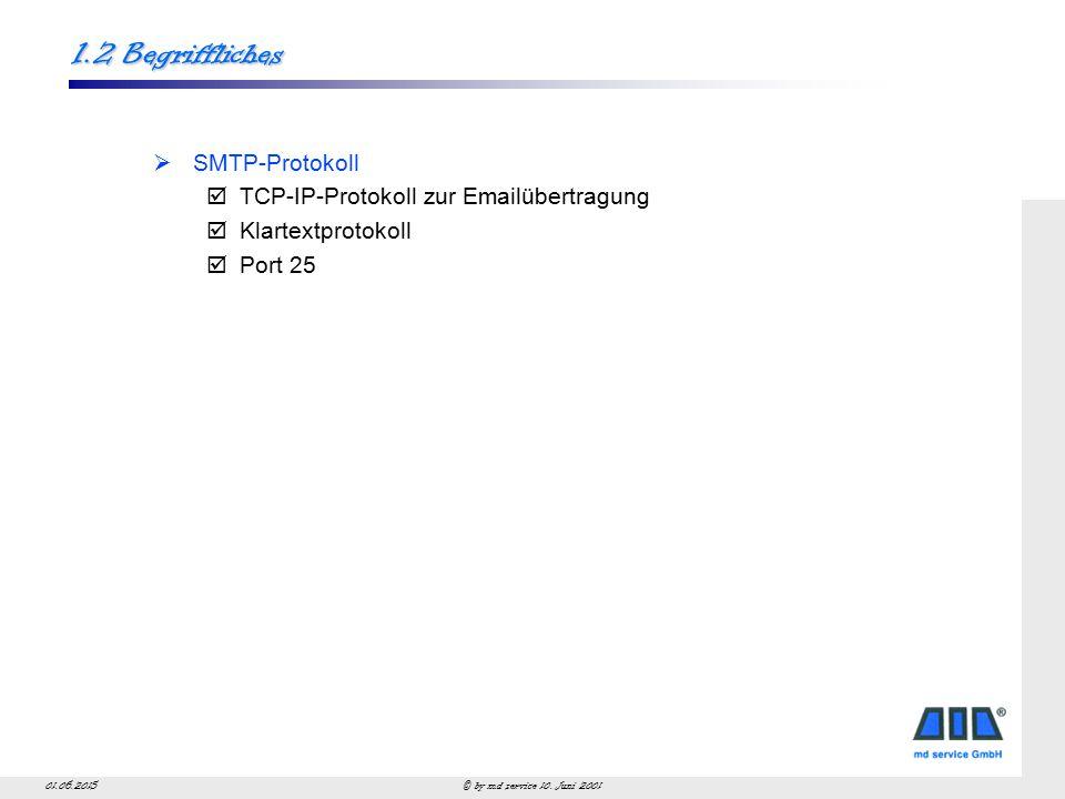 © by md service 10. Juni 200101.06.2015 Begriffliches SMTP
