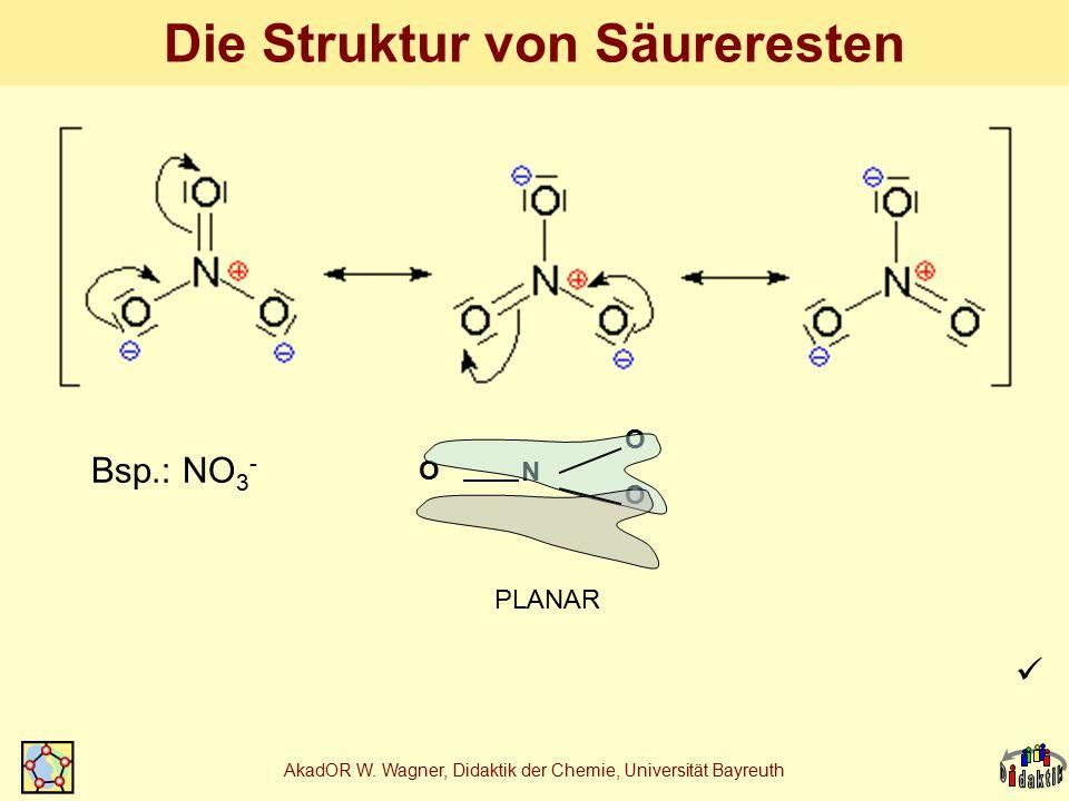 AkadOR W. Wagner, Didaktik der Chemie, Universität Bayreuth Die Struktur von Säureresten N O O O PLANAR Bsp.: NO 3 -