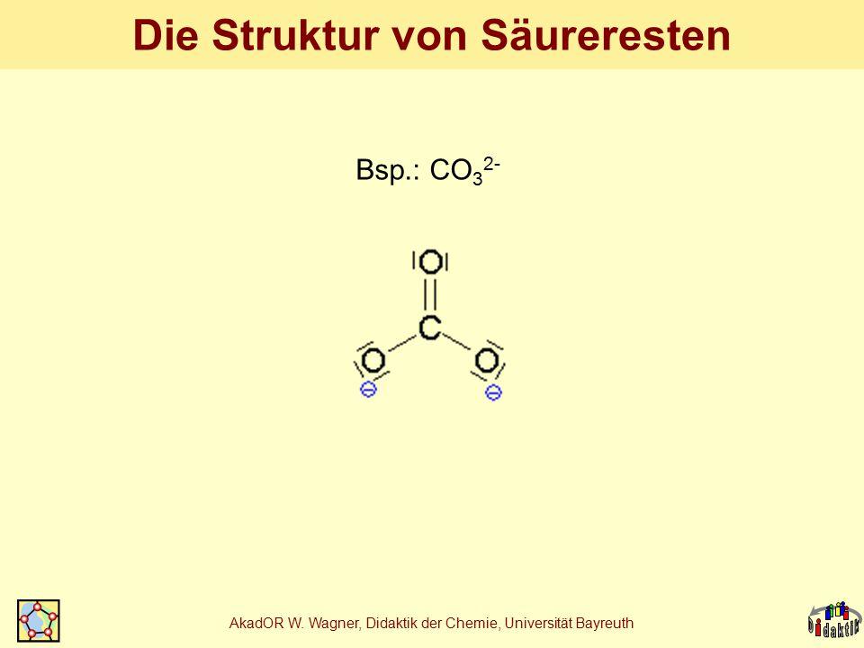 AkadOR W. Wagner, Didaktik der Chemie, Universität Bayreuth Die Struktur von Säureresten Bsp.: CO 3 2-