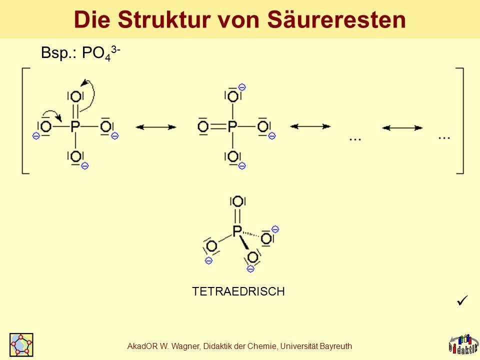 AkadOR W. Wagner, Didaktik der Chemie, Universität Bayreuth Die Struktur von Säureresten TETRAEDRISCH Bsp.: PO 4 3-
