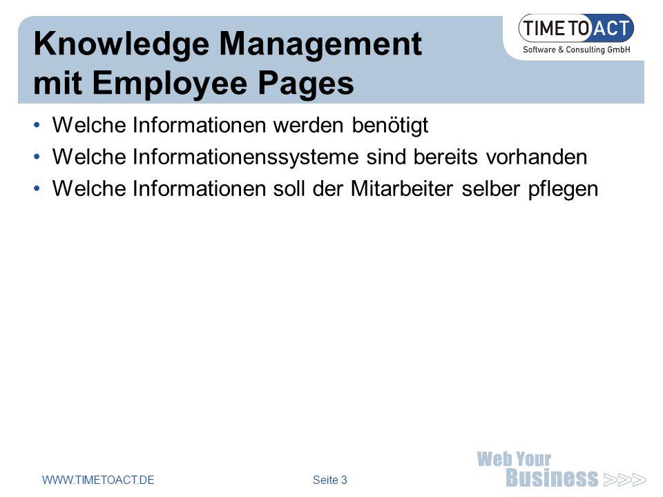 WWW.TIMETOACT.DE Seite 3 Knowledge Management mit Employee Pages Welche Informationen werden benötigt Welche Informationenssysteme sind bereits vorhanden Welche Informationen soll der Mitarbeiter selber pflegen