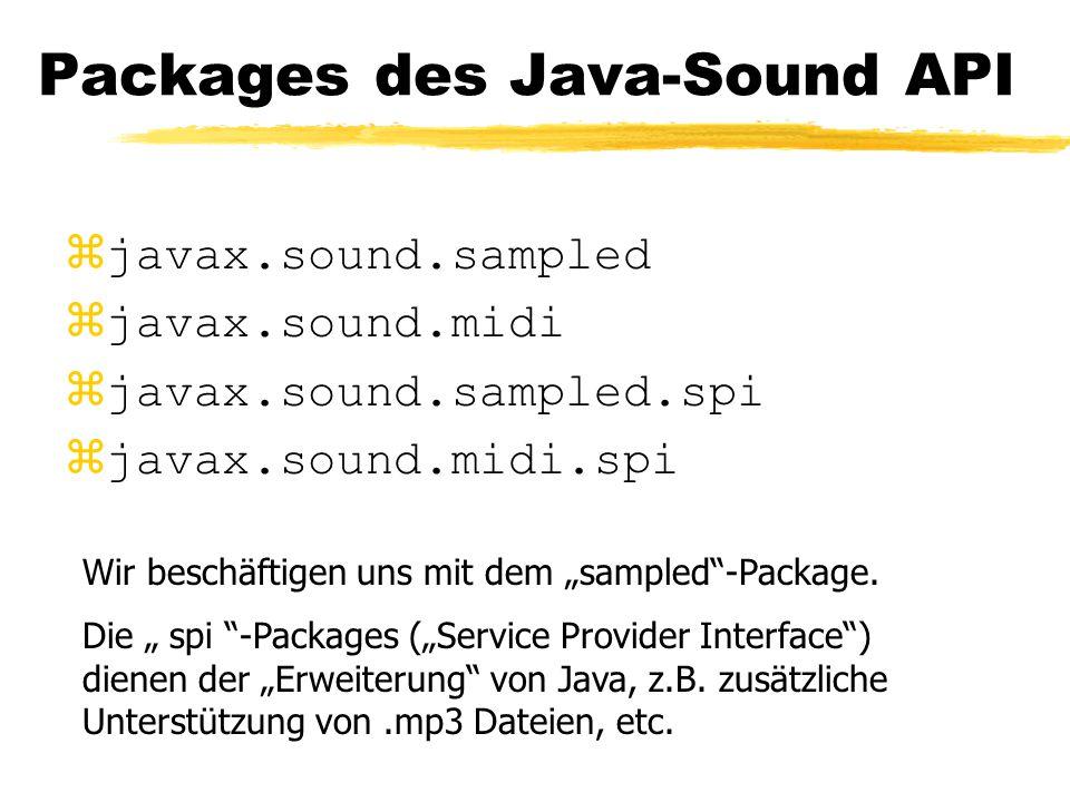 """Packages des Java-Sound API zjavax.sound.sampled zjavax.sound.midi zjavax.sound.sampled.spi zjavax.sound.midi.spi Wir beschäftigen uns mit dem """"sampled -Package."""