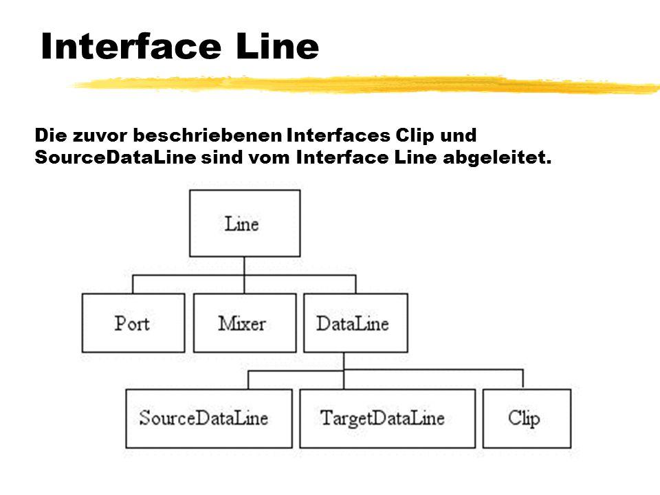 Interface Line Die zuvor beschriebenen Interfaces Clip und SourceDataLine sind vom Interface Line abgeleitet.