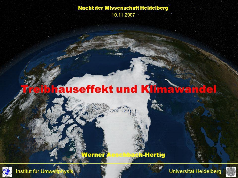 Treibhauseffekt und Klimawandel Werner Aeschbach-Hertig Universität HeidelbergInstitut für Umweltphysik Nacht der Wissenschaft Heidelberg 10.11.2007