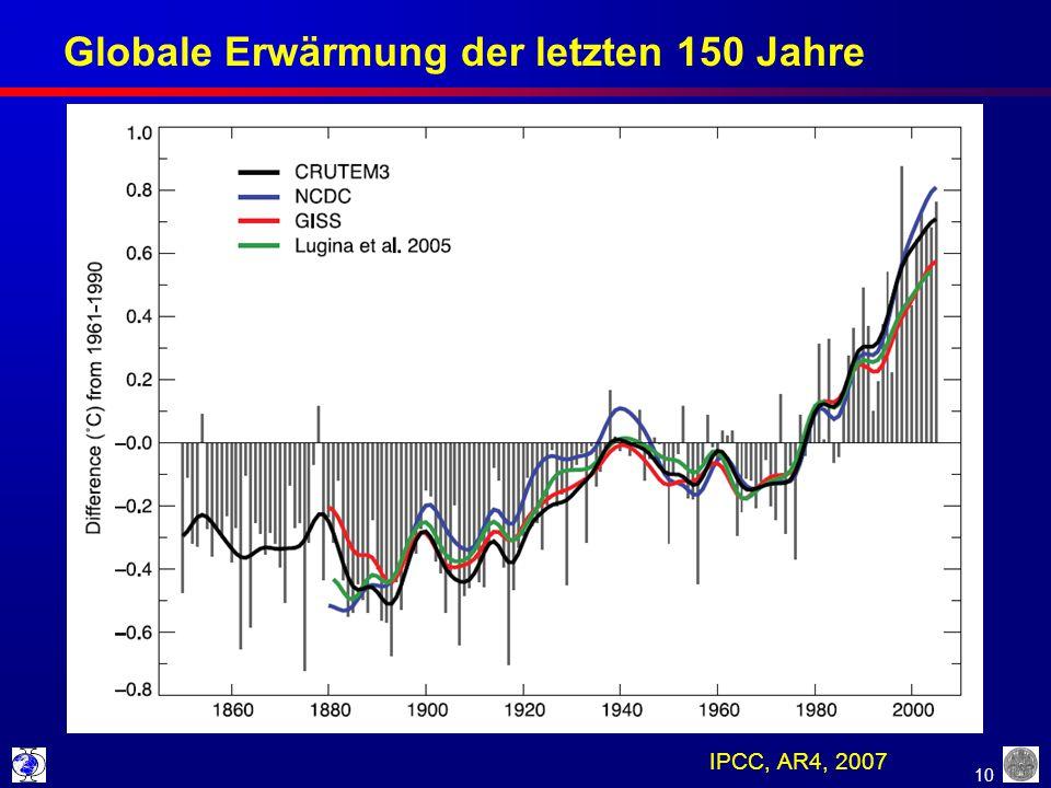 10 Globale Erwärmung der letzten 150 Jahre IPCC, AR4, 2007
