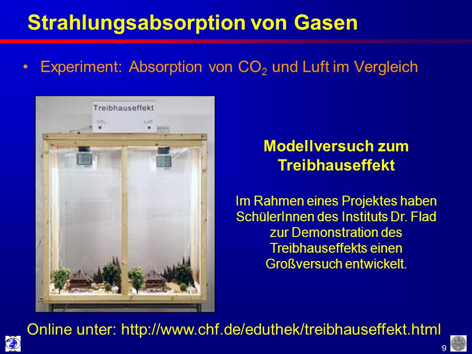 9 Strahlungsabsorption von Gasen Experiment: Absorption von CO 2 und Luft im Vergleich Online unter: http://www.chf.de/eduthek/treibhauseffekt.html Mo