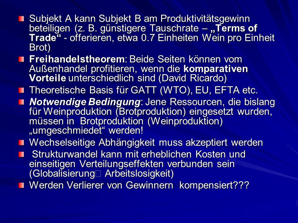 """Subjekt A kann Subjekt B am Produktivitätsgewinn beteiligen (z. B. günstigere Tauschrate – """"Terms of Trade"""" - offerieren, etwa 0.7 Einheiten Wein pro"""
