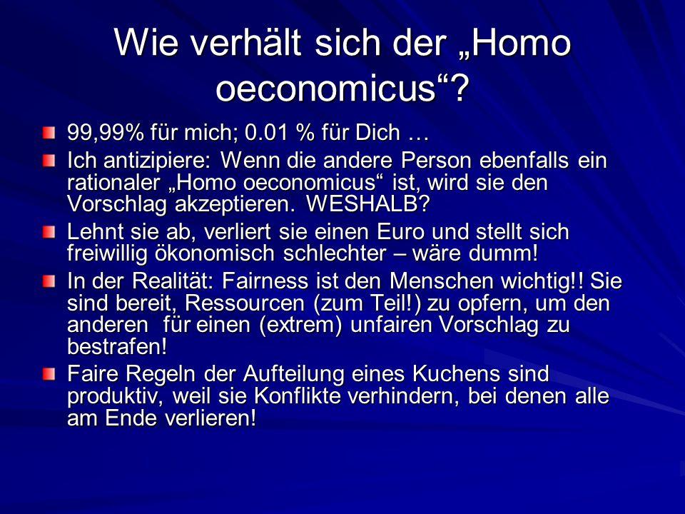 """Wie verhält sich der """"Homo oeconomicus""""? 99,99% für mich; 0.01 % für Dich … Ich antizipiere: Wenn die andere Person ebenfalls ein rationaler """"Homo oec"""