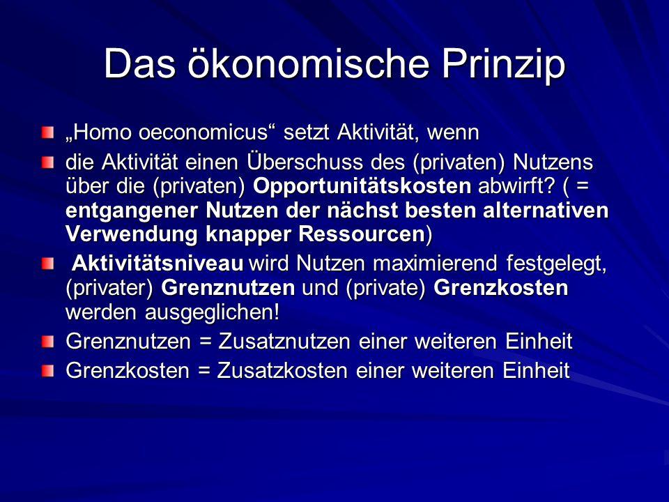 """Das ökonomische Prinzip """"Homo oeconomicus"""" setzt Aktivität, wenn die Aktivität einen Überschuss des (privaten) Nutzens über die (privaten) Opportunitä"""