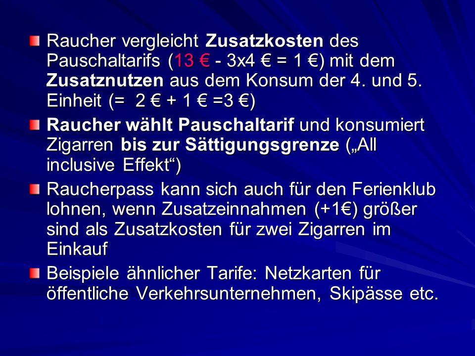 Raucher vergleicht Zusatzkosten des Pauschaltarifs (13 € - 3x4 € = 1 €) mit dem Zusatznutzen aus dem Konsum der 4. und 5. Einheit (= 2 € + 1 € =3 €) R