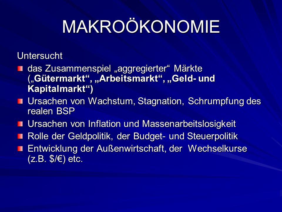 """MAKROÖKONOMIE Untersucht das Zusammenspiel """"aggregierter"""" Märkte (""""Gütermarkt"""", """"Arbeitsmarkt"""", """"Geld- und Kapitalmarkt"""") Ursachen von Wachstum, Stagn"""