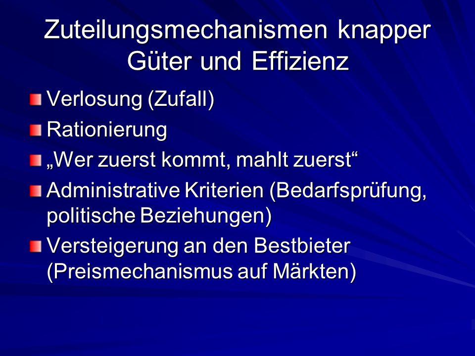 "Zuteilungsmechanismen knapper Güter und Effizienz Verlosung (Zufall) Rationierung ""Wer zuerst kommt, mahlt zuerst"" Administrative Kriterien (Bedarfspr"
