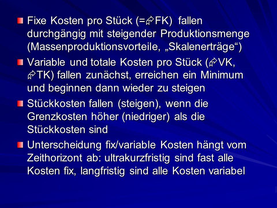 """Fixe Kosten pro Stück (=  FK) fallen durchgängig mit steigender Produktionsmenge (Massenproduktionsvorteile, """"Skalenerträge"""") Variable und totale Kos"""