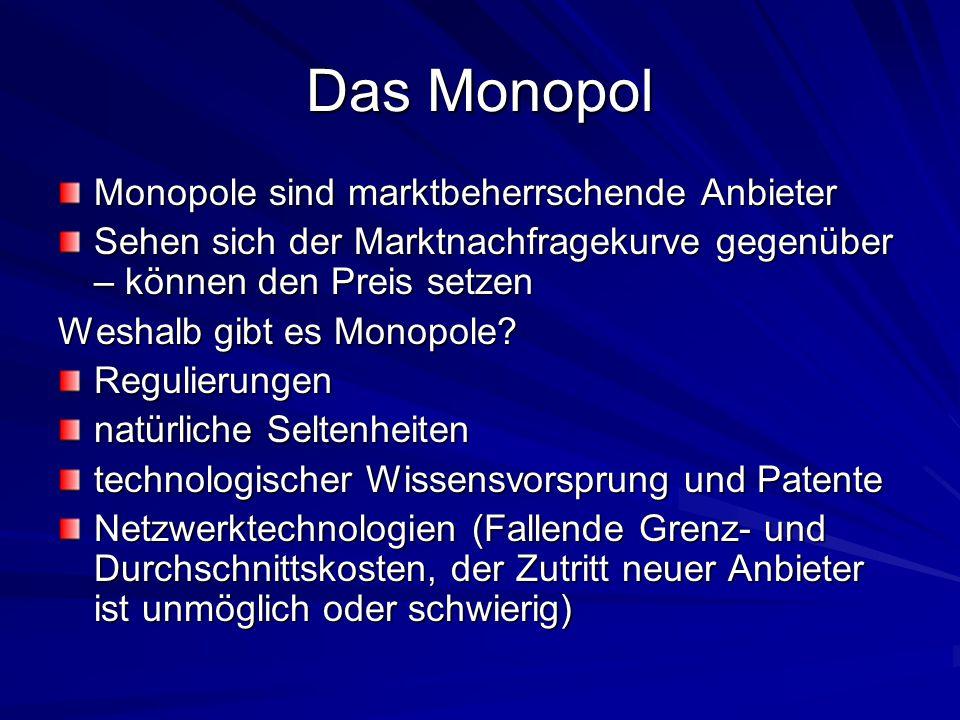Das Monopol Monopole sind marktbeherrschende Anbieter Sehen sich der Marktnachfragekurve gegenüber – können den Preis setzen Weshalb gibt es Monopole?