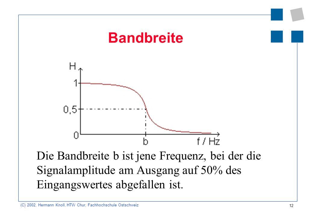 12 (C) 2002, Hermann Knoll, HTW Chur, Fachhochschule Ostschweiz Bandbreite Die Bandbreite b ist jene Frequenz, bei der die Signalamplitude am Ausgang