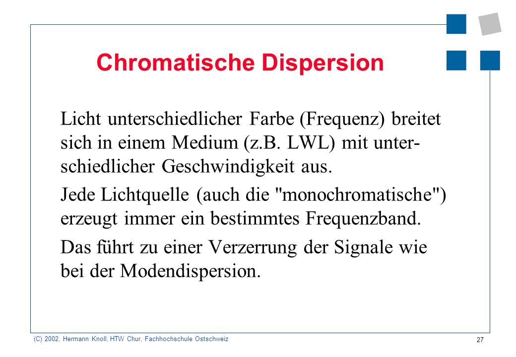 27 (C) 2002, Hermann Knoll, HTW Chur, Fachhochschule Ostschweiz Chromatische Dispersion Licht unterschiedlicher Farbe (Frequenz) breitet sich in einem