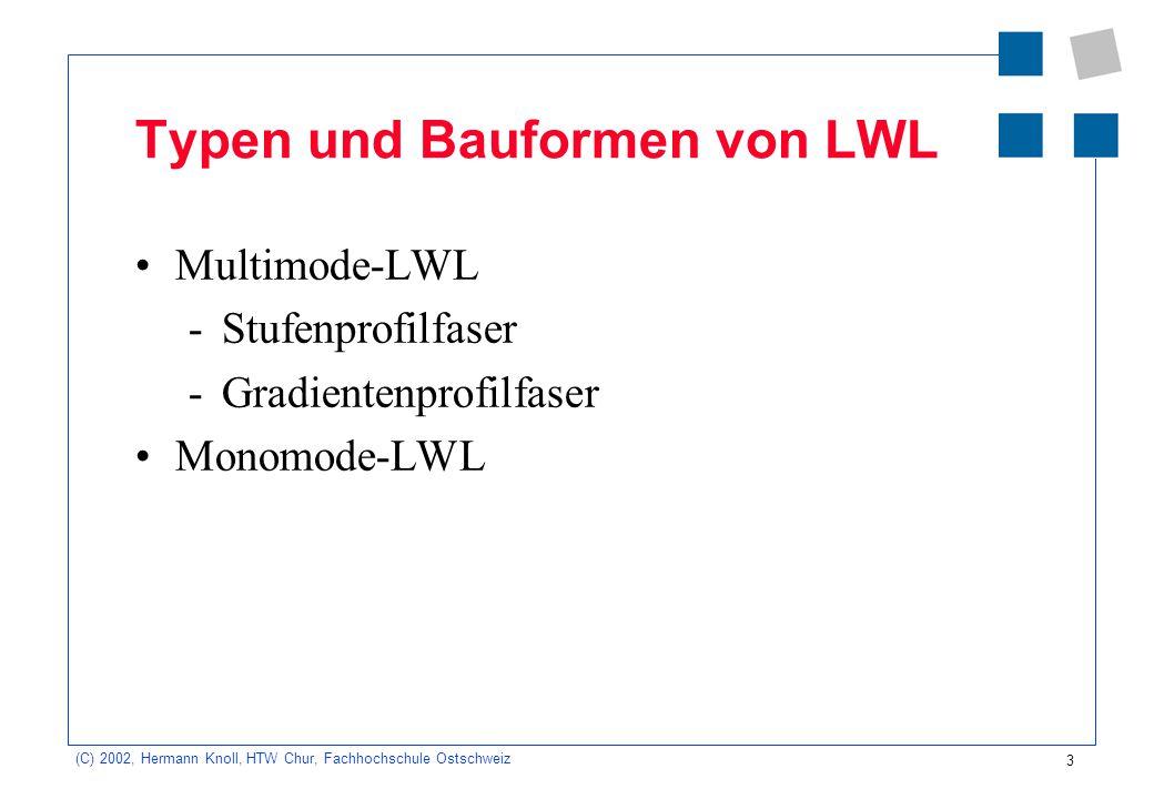 3 (C) 2002, Hermann Knoll, HTW Chur, Fachhochschule Ostschweiz Typen und Bauformen von LWL Multimode-LWL -Stufenprofilfaser -Gradientenprofilfaser Mon