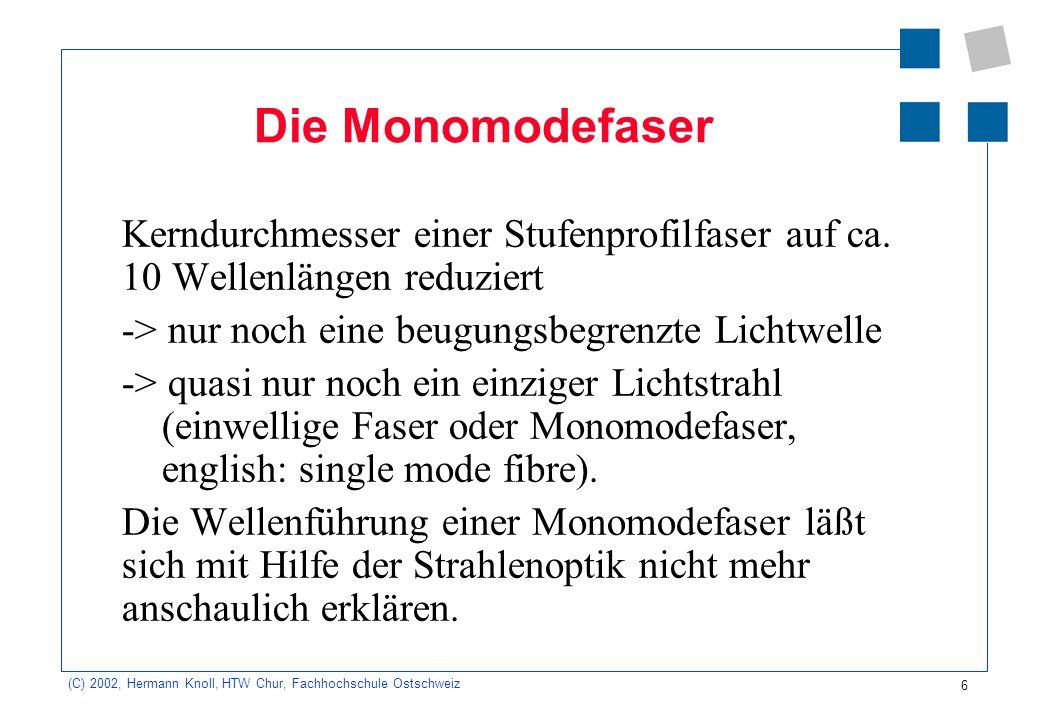7 (C) 2002, Hermann Knoll, HTW Chur, Fachhochschule Ostschweiz Modendispersion Im Multimode-LW: gleichzeitig einige tausend verschiedene Moden = Strahlen mit verschiedenen Einkopplungswinkeln Die Modendispersion ist Ursache für nachteilige Signalveränderungen.