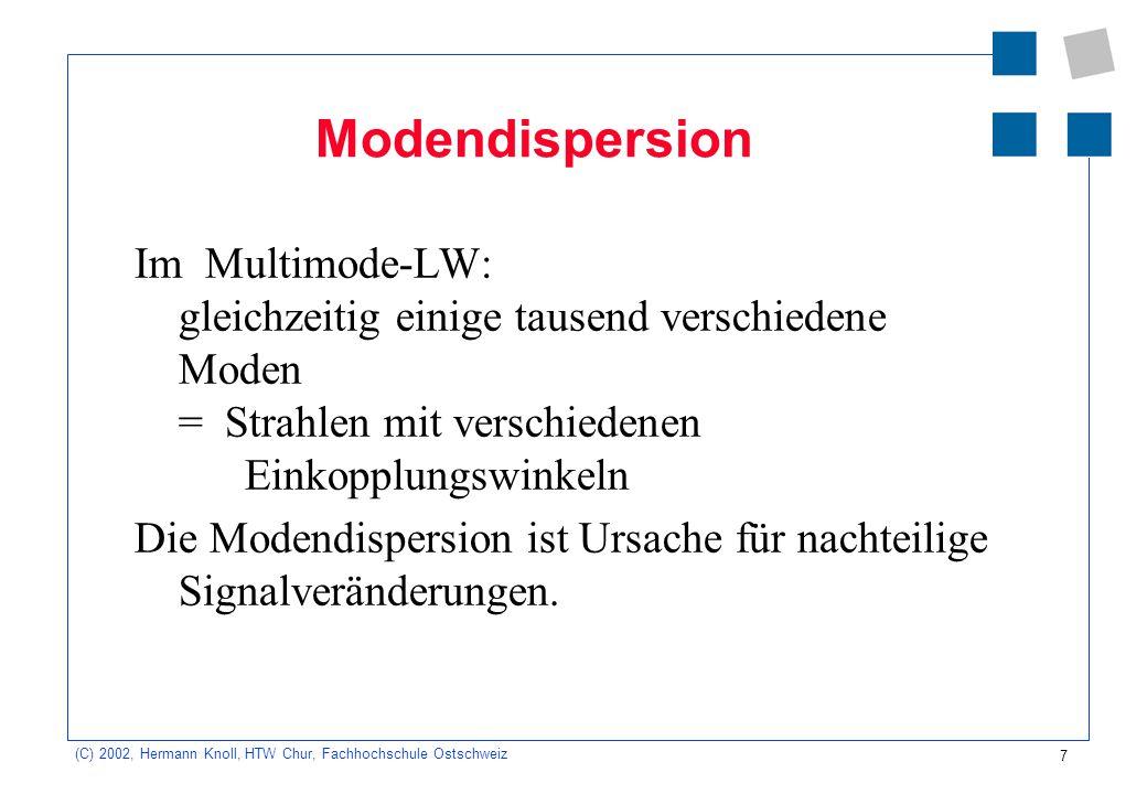 7 (C) 2002, Hermann Knoll, HTW Chur, Fachhochschule Ostschweiz Modendispersion Im Multimode-LW: gleichzeitig einige tausend verschiedene Moden = Strah
