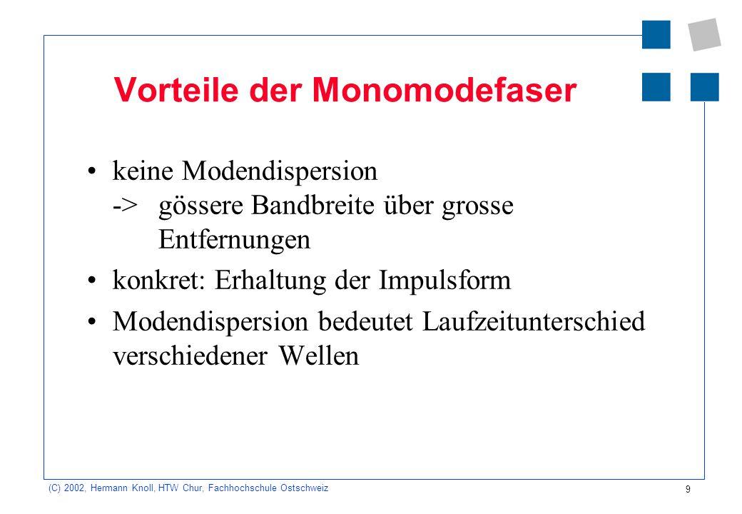 10 (C) 2002, Hermann Knoll, HTW Chur, Fachhochschule Ostschweiz Vorteile des LWL: sehr hohe Bandbreite ->Datenraten bis zu mehreren Tbit/s grosse Entfernungen ohne Zwischenverstärkung sehr dünn, sehr leicht und biegsam.