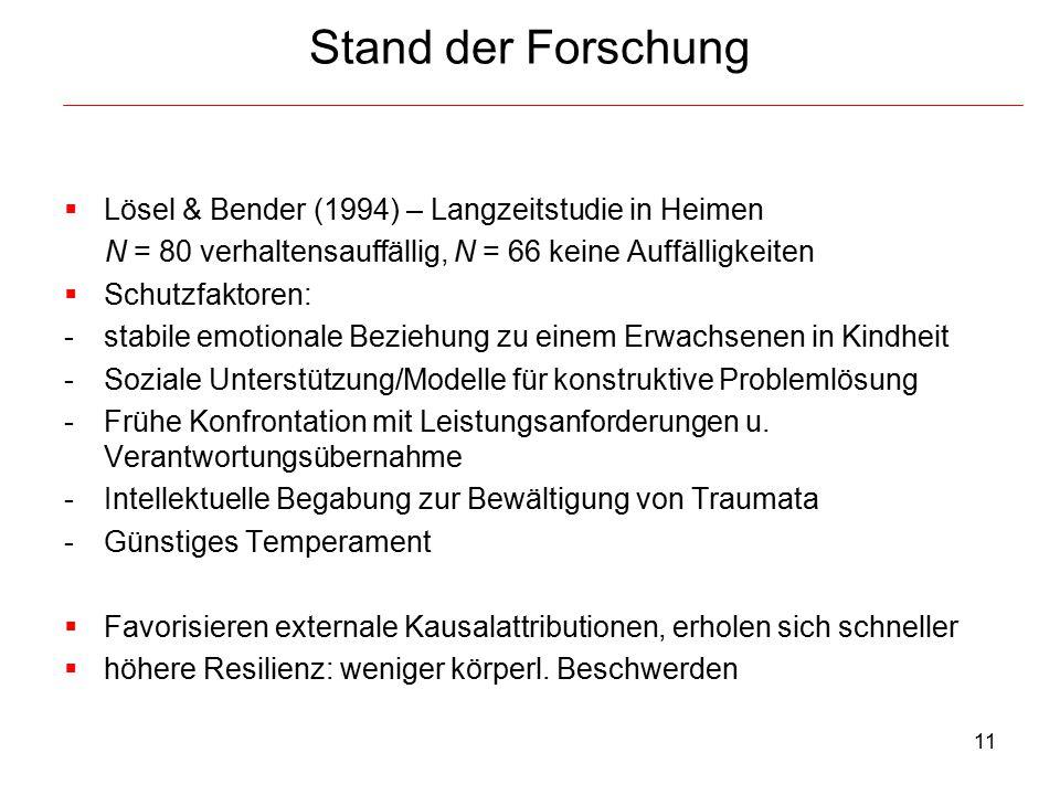 11 Stand der Forschung  Lösel & Bender (1994) – Langzeitstudie in Heimen N = 80 verhaltensauffällig, N = 66 keine Auffälligkeiten  Schutzfaktoren: -