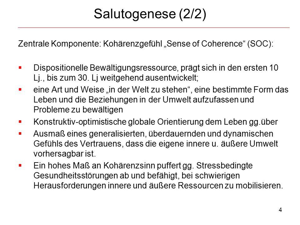 """4 Salutogenese (2/2) Zentrale Komponente: Kohärenzgefühl """"Sense of Coherence"""" (SOC):  Dispositionelle Bewältigungsressource, prägt sich in den ersten"""