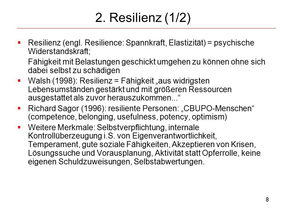 9 Resilienz (2/2)  Persönlichkeitsmerkmal, das mit folgenden Merkmalen korrespondiert: Eigenständigkeit, Unabhängigkeit, Bestimmtheit, Unbesiegbarkeit, Beherrschung, Findigkeit, Ausdauer, Akzeptanz dem Leben und der eigenen Person gegenüber, Anpassungsbereitschaft, Balance und Flexibilität, Fähigkeit zur Perspektivübernahme.