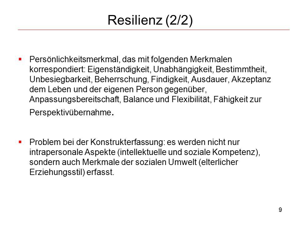 9 Resilienz (2/2)  Persönlichkeitsmerkmal, das mit folgenden Merkmalen korrespondiert: Eigenständigkeit, Unabhängigkeit, Bestimmtheit, Unbesiegbarkei