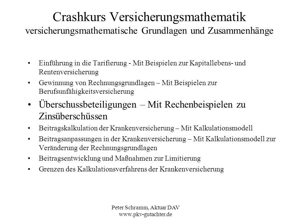 Peter Schramm, Aktuar DAV www.pkv-gutachter.de Crashkurs Versicherungsmathematik versicherungsmathematische Grundlagen und Zusammenhänge Einführung in
