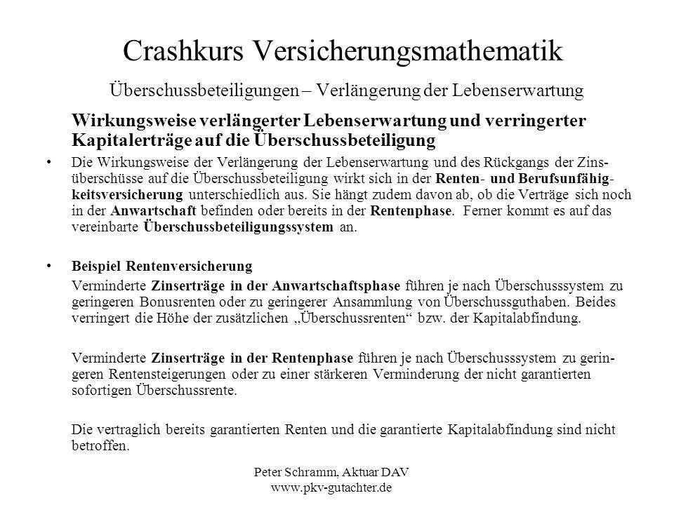 Peter Schramm, Aktuar DAV www.pkv-gutachter.de Crashkurs Versicherungsmathematik Überschussbeteiligungen – Verlängerung der Lebenserwartung Wirkungswe