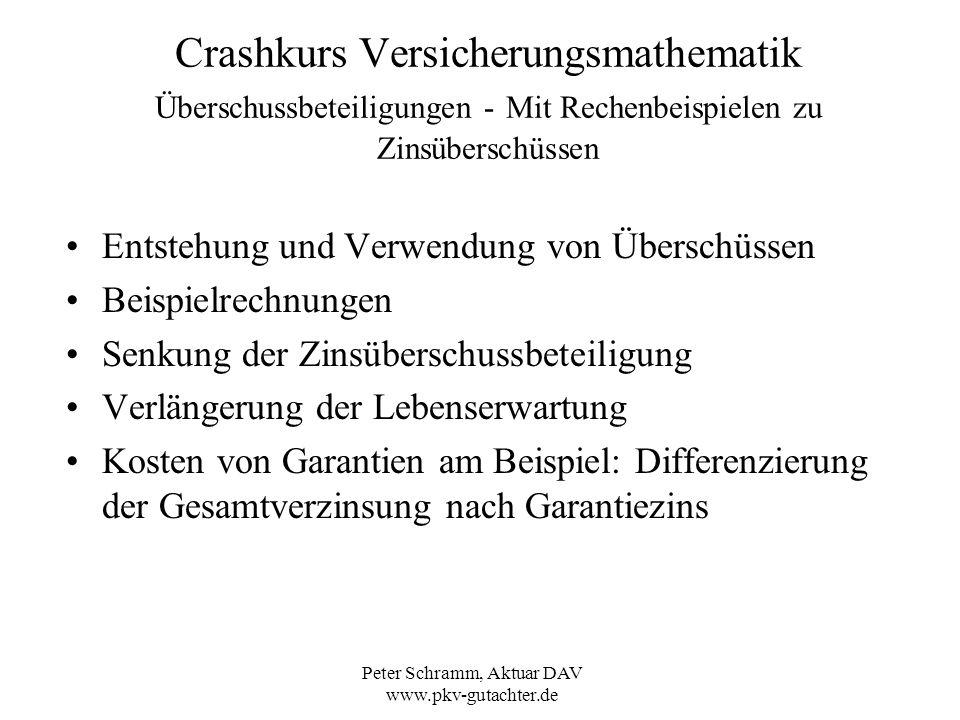 Peter Schramm, Aktuar DAV www.pkv-gutachter.de Crashkurs Versicherungsmathematik Überschussbeteiligungen - Mit Rechenbeispielen zu Zinsüberschüssen En
