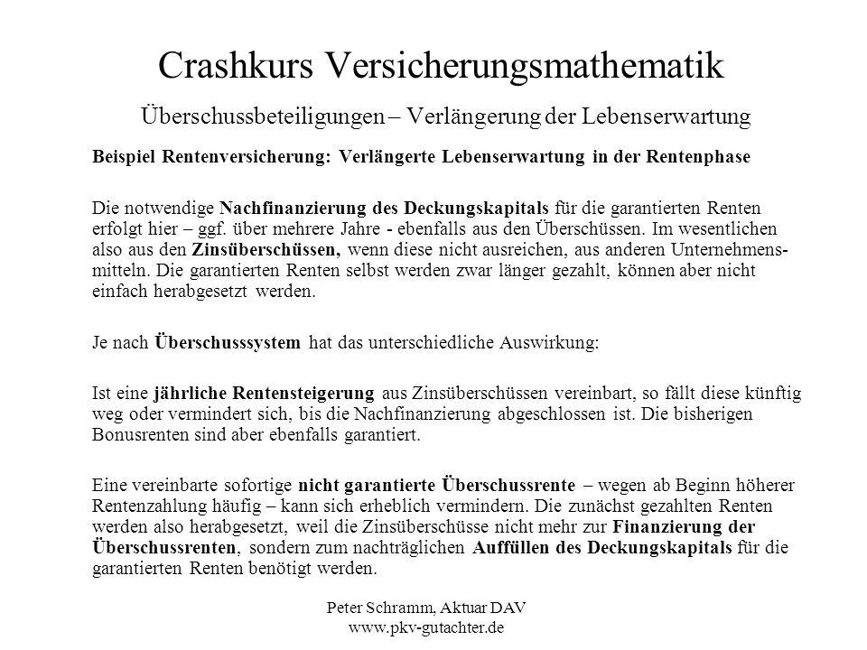 Peter Schramm, Aktuar DAV www.pkv-gutachter.de Crashkurs Versicherungsmathematik Überschussbeteiligungen – Verlängerung der Lebenserwartung Beispiel R