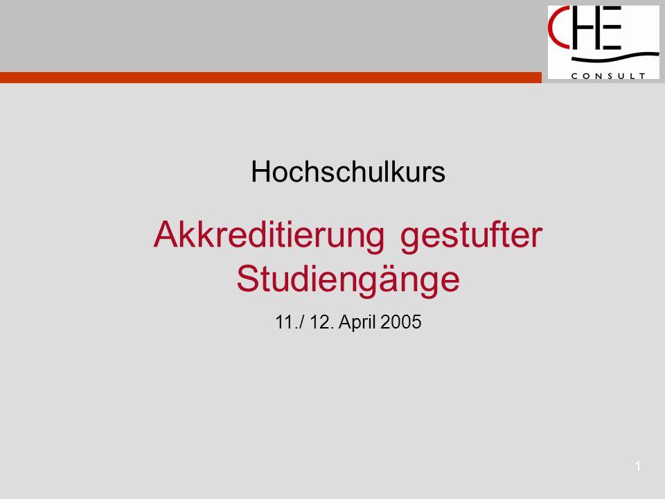 1 Hochschulkurs Akkreditierung gestufter Studiengänge 11./ 12. April 2005