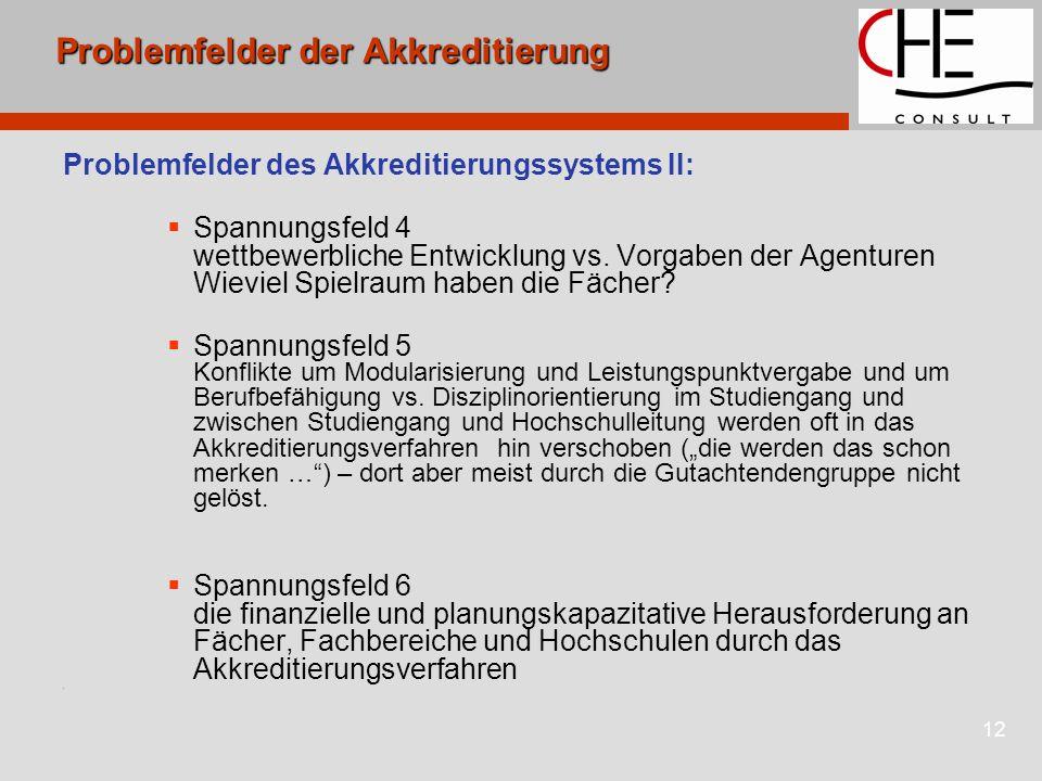 12 Problemfelder der Akkreditierung Problemfelder des Akkreditierungssystems II:  Spannungsfeld 4 wettbewerbliche Entwicklung vs.