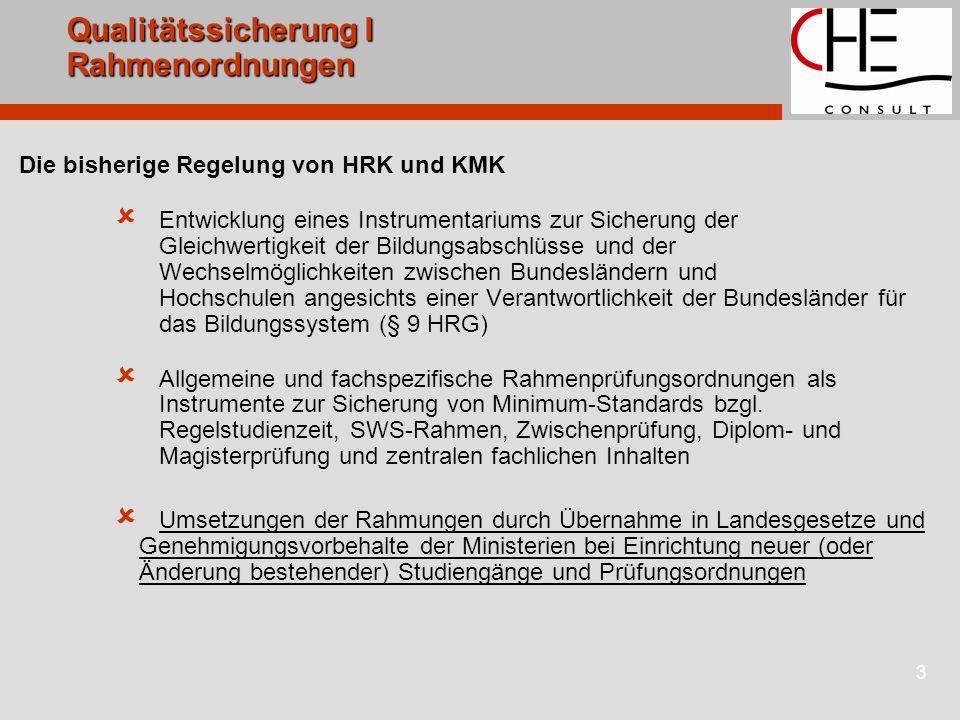 3 Qualitätssicherung I Rahmenordnungen Die bisherige Regelung von HRK und KMK  Entwicklung eines Instrumentariums zur Sicherung der Gleichwertigkeit der Bildungsabschlüsse und der Wechselmöglichkeiten zwischen Bundesländern und Hochschulen angesichts einer Verantwortlichkeit der Bundesländer für das Bildungssystem (§ 9 HRG)  Allgemeine und fachspezifische Rahmenprüfungsordnungen als Instrumente zur Sicherung von Minimum-Standards bzgl.