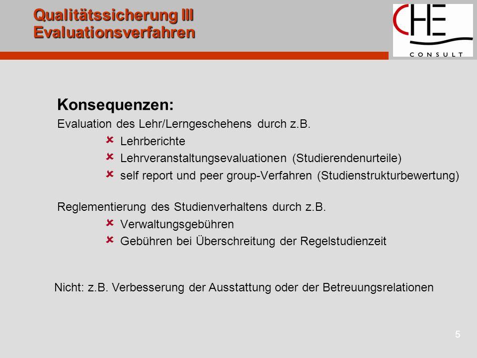 5 Qualitätssicherung III Evaluationsverfahren Konsequenzen: Evaluation des Lehr/Lerngeschehens durch z.B.