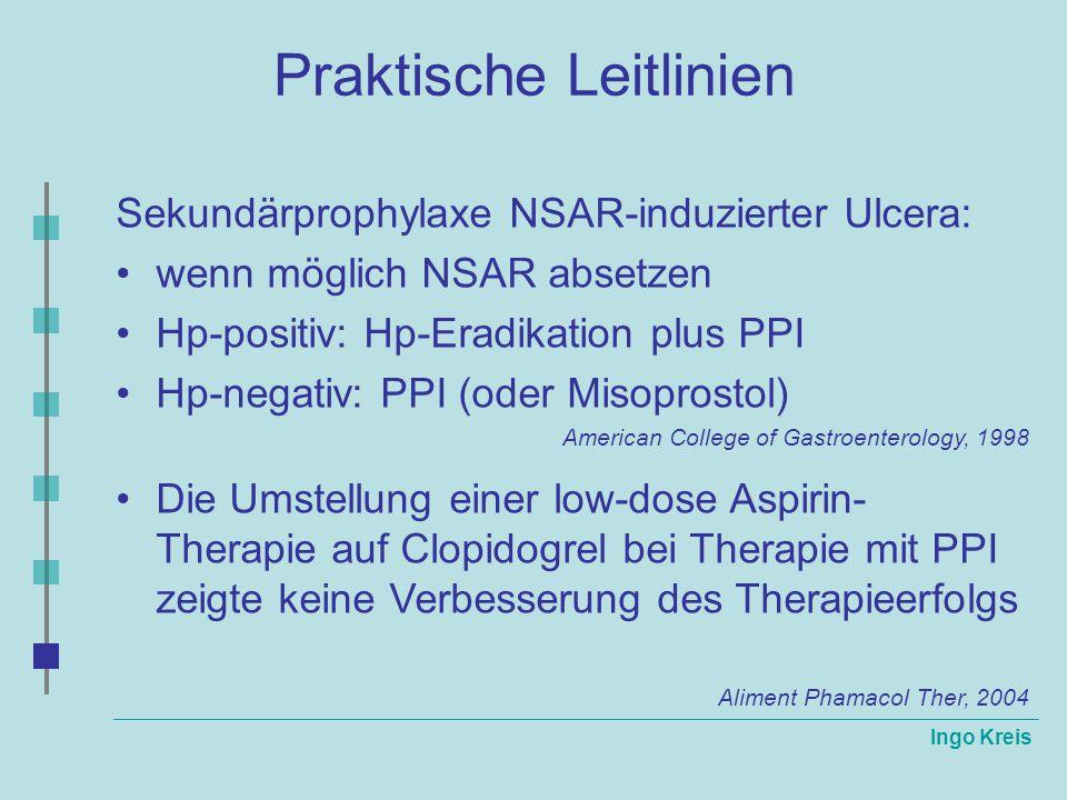 Ingo Kreis Praktische Leitlinien Sekundärprophylaxe NSAR-induzierter Ulcera: wenn möglich NSAR absetzen Hp-positiv: Hp-Eradikation plus PPI Hp-negativ
