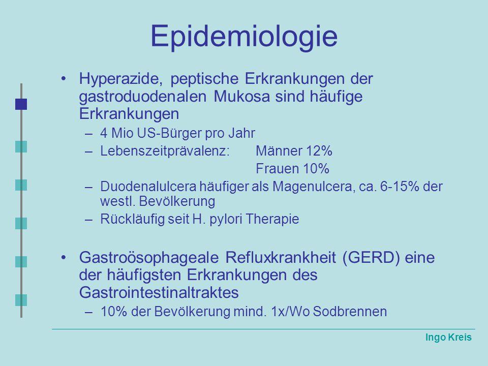 Ingo Kreis Epidemiologie Hyperazide, peptische Erkrankungen der gastroduodenalen Mukosa sind häufige Erkrankungen –4 Mio US-Bürger pro Jahr –Lebenszei