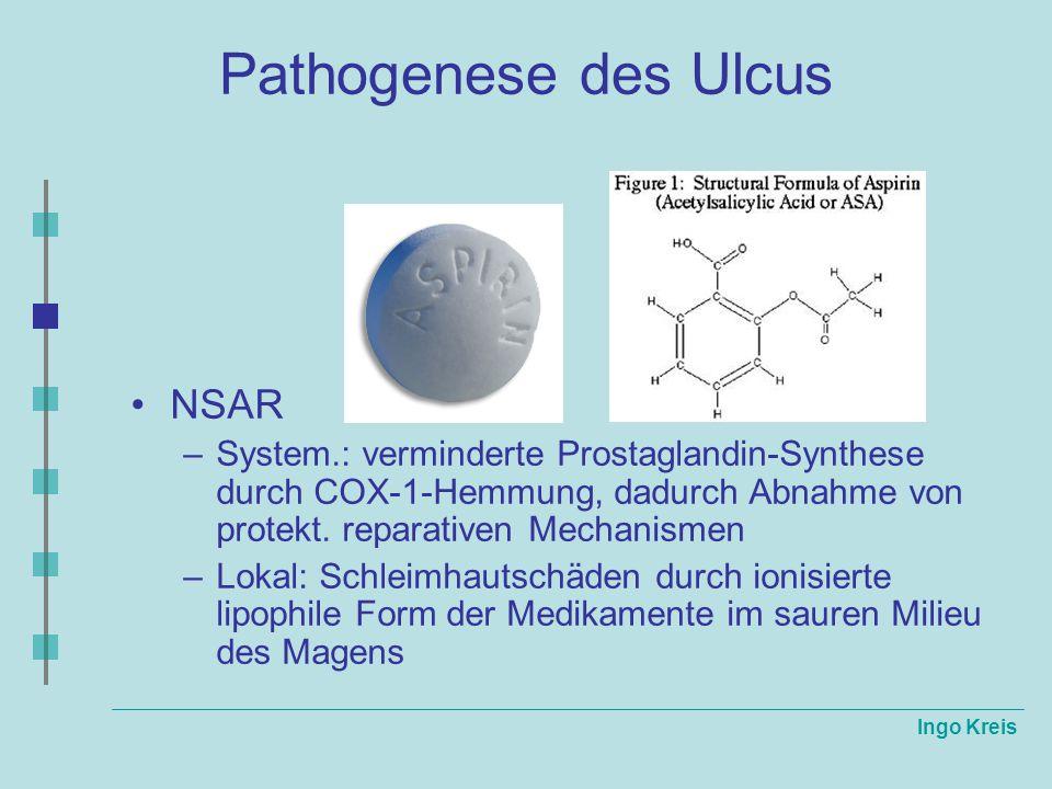 Ingo Kreis Pathogenese des Ulcus NSAR –System.: verminderte Prostaglandin-Synthese durch COX-1-Hemmung, dadurch Abnahme von protekt. reparativen Mecha