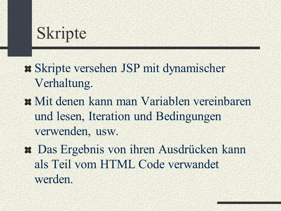 Skripte Skripte versehen JSP mit dynamischer Verhaltung. Mit denen kann man Variablen vereinbaren und lesen, Iteration und Bedingungen verwenden, usw.