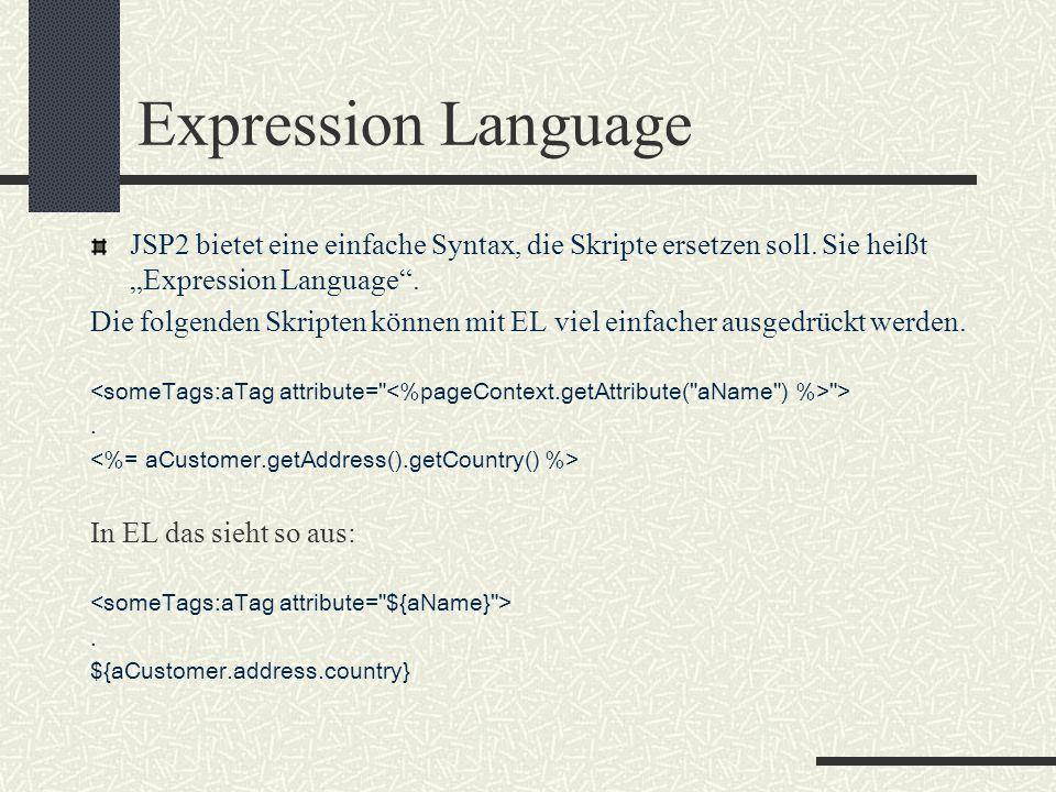 """Expression Language JSP2 bietet eine einfache Syntax, die Skripte ersetzen soll. Sie heißt """"Expression Language"""". Die folgenden Skripten können mit EL"""