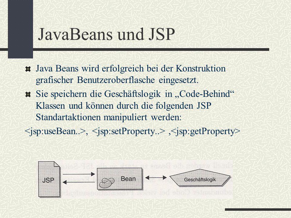 """JavaBeans und JSP Java Beans wird erfolgreich bei der Konstruktion grafischer Benutzeroberflasche eingesetzt. Sie speichern die Geschäftslogik in """"Cod"""