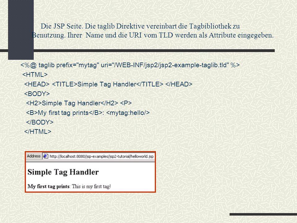 Die JSP Seite. Die taglib Direktive vereinbart die Tagbibliothek zu Benutzung. Ihrer Name und die URI vom TLD werden als Attribute eingegeben. Simple