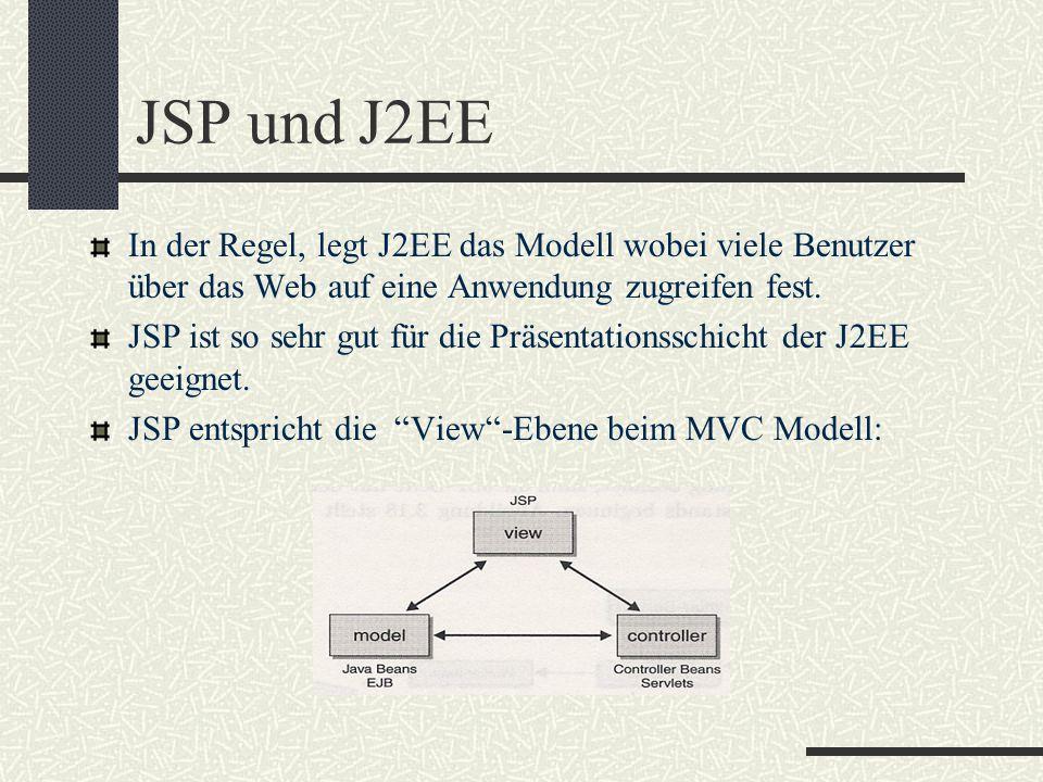JSP und J2EE In der Regel, legt J2EE das Modell wobei viele Benutzer über das Web auf eine Anwendung zugreifen fest. JSP ist so sehr gut für die Präse